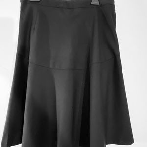 A-line high waist flare wool blk skirt